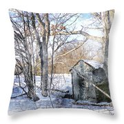 Outhouse In Winter Throw Pillow