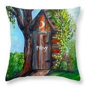 Outhouse - Privy - The Old Out House Throw Pillow