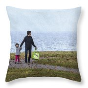Outing In Autumn Throw Pillow