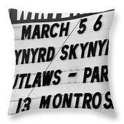 Winterland Marquee 3-6-76 Throw Pillow