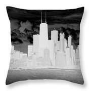 Outline Of Chicago Throw Pillow