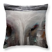 Outpour 2 Modern Waterscape Original Painting On Canvas Throw Pillow