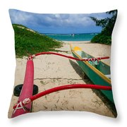 Outrigger Beach Throw Pillow