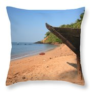 Outrigger On Cola Beach Throw Pillow