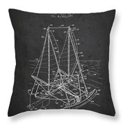Outrigger Sailboat Patent From 1977 - Dark Throw Pillow