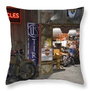 Outside The Motorcycle Shop Throw Pillow