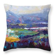 Overlook Abstract Landscape Throw Pillow by Talya Johnson