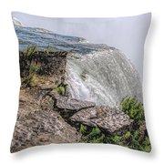 Over The Edge Niagara Falls Throw Pillow