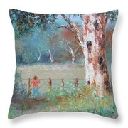 Over The Fence By Jan Matson Throw Pillow