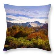 Over The Fog. Trossachs National Park. Scotland Throw Pillow by Jenny Rainbow