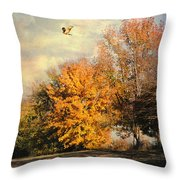 Over The Golden Tree Throw Pillow