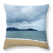 Overcast Beach Throw Pillow