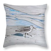 Overcast Day With Sanderlings Throw Pillow
