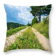 Overgrown Rural Path Up A Hill Throw Pillow