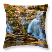 Overlooked Falls In The Porkies Throw Pillow