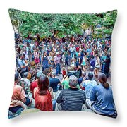 Overlooking The Asheville Drum Circle Throw Pillow