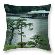 Overlooking The Tea House Throw Pillow