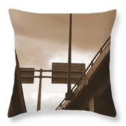 Overpass In Sepia Throw Pillow
