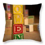 Owen - Alphabet Blocks Throw Pillow