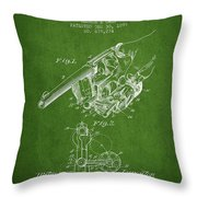 Owen Revolver Patent Drawing From 1899- Green Throw Pillow
