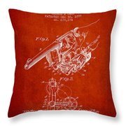 Owen Revolver Patent Drawing From 1899- Red Throw Pillow