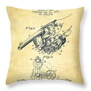Owen Revolver Patent Drawing From 1899- Vintage Throw Pillow