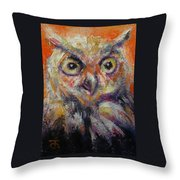 Owl Aceo Throw Pillow
