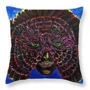 Owl Mask Self Portrait Throw Pillow