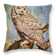 Owl On A Tree Throw Pillow