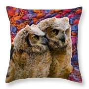 Owlets In Color Throw Pillow