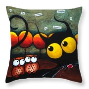 Owls In The Forest Throw Pillow