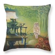 Owl's Insomnia Throw Pillow