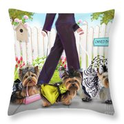 Owned By Yorkies Throw Pillow