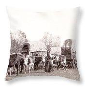 Ox-driven Wagon Freight Train C. 1887 Throw Pillow
