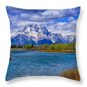 Oxbow Bend In Spring Throw Pillow
