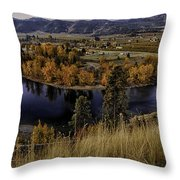 Oxbow Bend In The Wenatchee River Throw Pillow