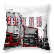 Oxford Street Flags Throw Pillow