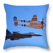 P-38 And Jet Throw Pillow