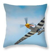 P-51 Mustang Low Pass Throw Pillow by Puget  Exposure