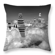 P-51 Mustangs Black And White Version Throw Pillow