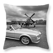 P51 Meets Eleanor In Black And White Throw Pillow