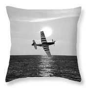 P51d Sunset Black And White Throw Pillow