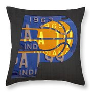 Pacers Basketball Team Logo Vintage Recycled Indiana License Plate Art Throw Pillow