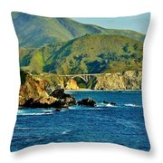 Pacific Coast Panorama Throw Pillow by Benjamin Yeager