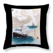 Pacific Dream Crab Fishing Boat Nautical Chart Art Throw Pillow