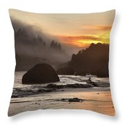 Pacific Fog And Fire Throw Pillow by Adam Jewell