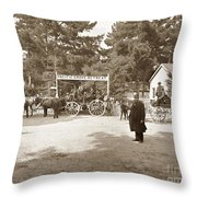 Pacific Grove Retreat Gate On Lighthouse At Grand Aves  With  O. J. Johnson Circa 1880 Throw Pillow