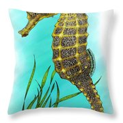 Pacific Seahorse Throw Pillow