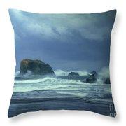 Pacific Storm Bandon Beach Oregon Throw Pillow
