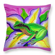 Pacific Tree Frog And Flower Throw Pillow